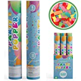 TUR Party Supplies Biodegradable Confetti Cannons Party Poppers (6 Pack) | Multicolor | Launches Up to 25ft | Giant (12 in) |