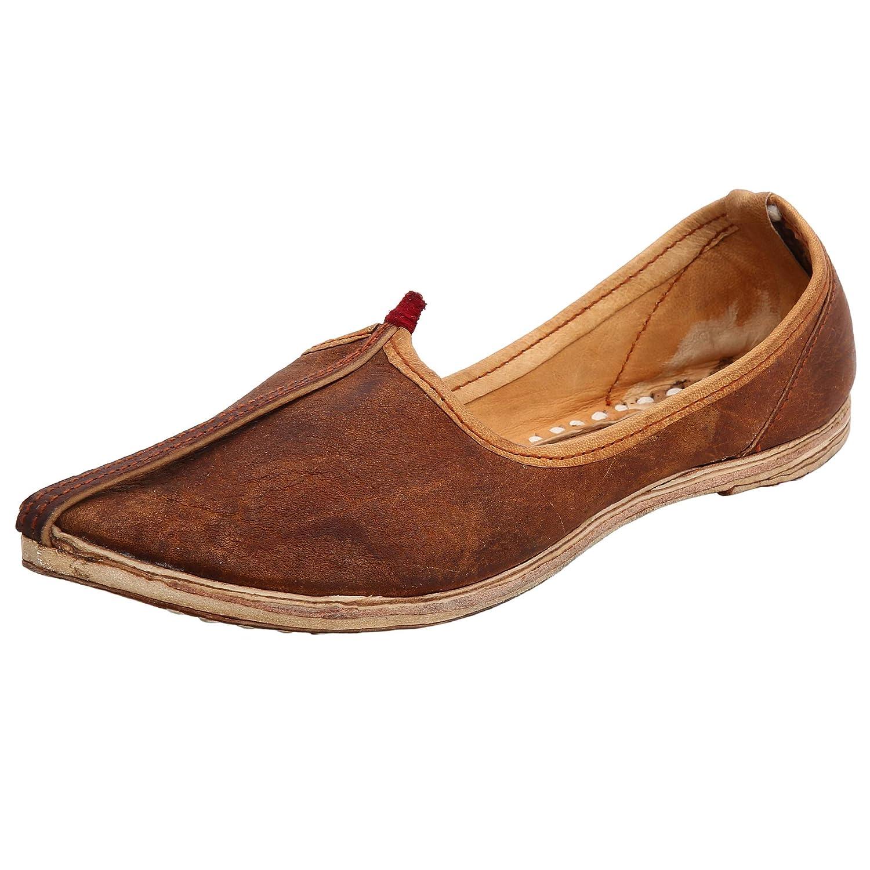 Aryan Exports Rajwari Rajasthani Brown Jutti Handmade Indian Leather Traditional Shoes Mens