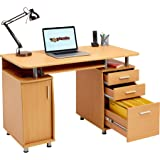 Large Computer and Writing Desk with A4 Filing, 2 Stationery Drawers and Cupboard for the Home Office in Beech Effect - Piranha Furniture Emperor PC 2b
