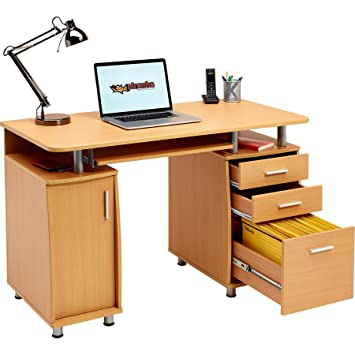 Escritorio Grande para Ordenador y Escritura con archivador A4, 2 cajones para artículos de papelería