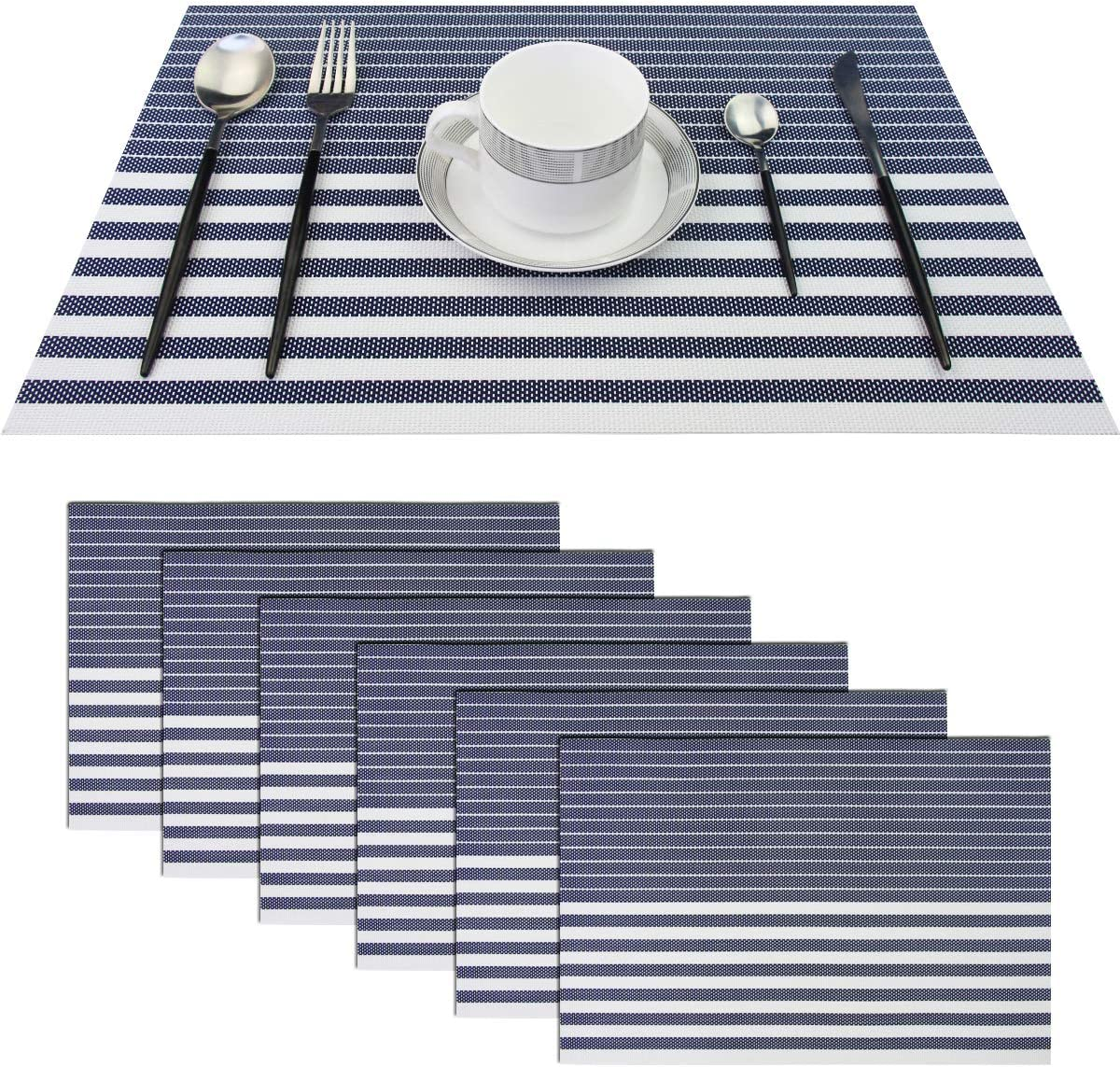 pigchcy Navy Blue Placemats Set of 6 Vinyl Woven Heat-Resistant Placemat Washable Easy to Clean Table Mats for Dining Room (18 x 12 inch)