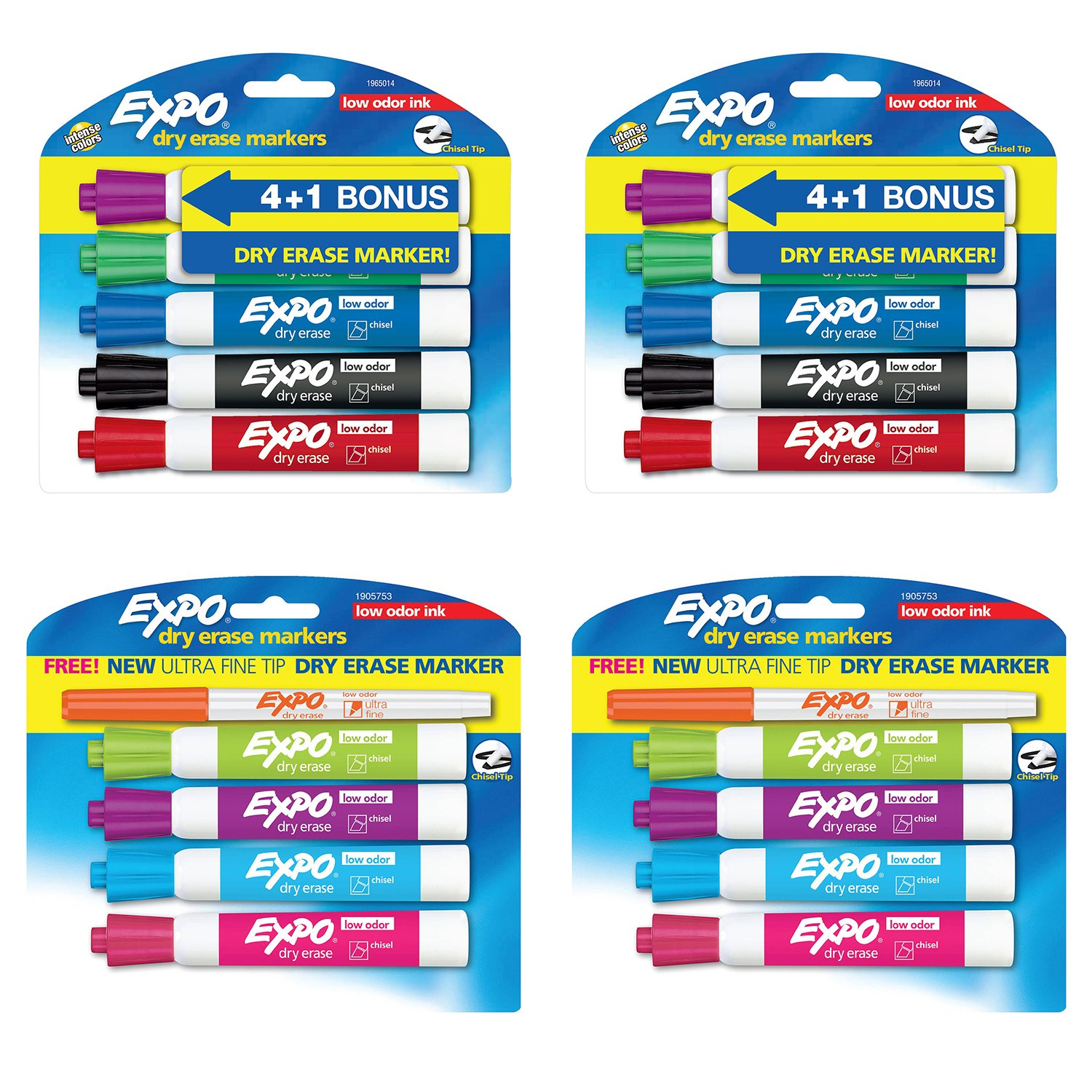 Expo Low Odor Dry Erase Markers Chisel Tip Assorted Colors Pack Of 18   2 Bonus