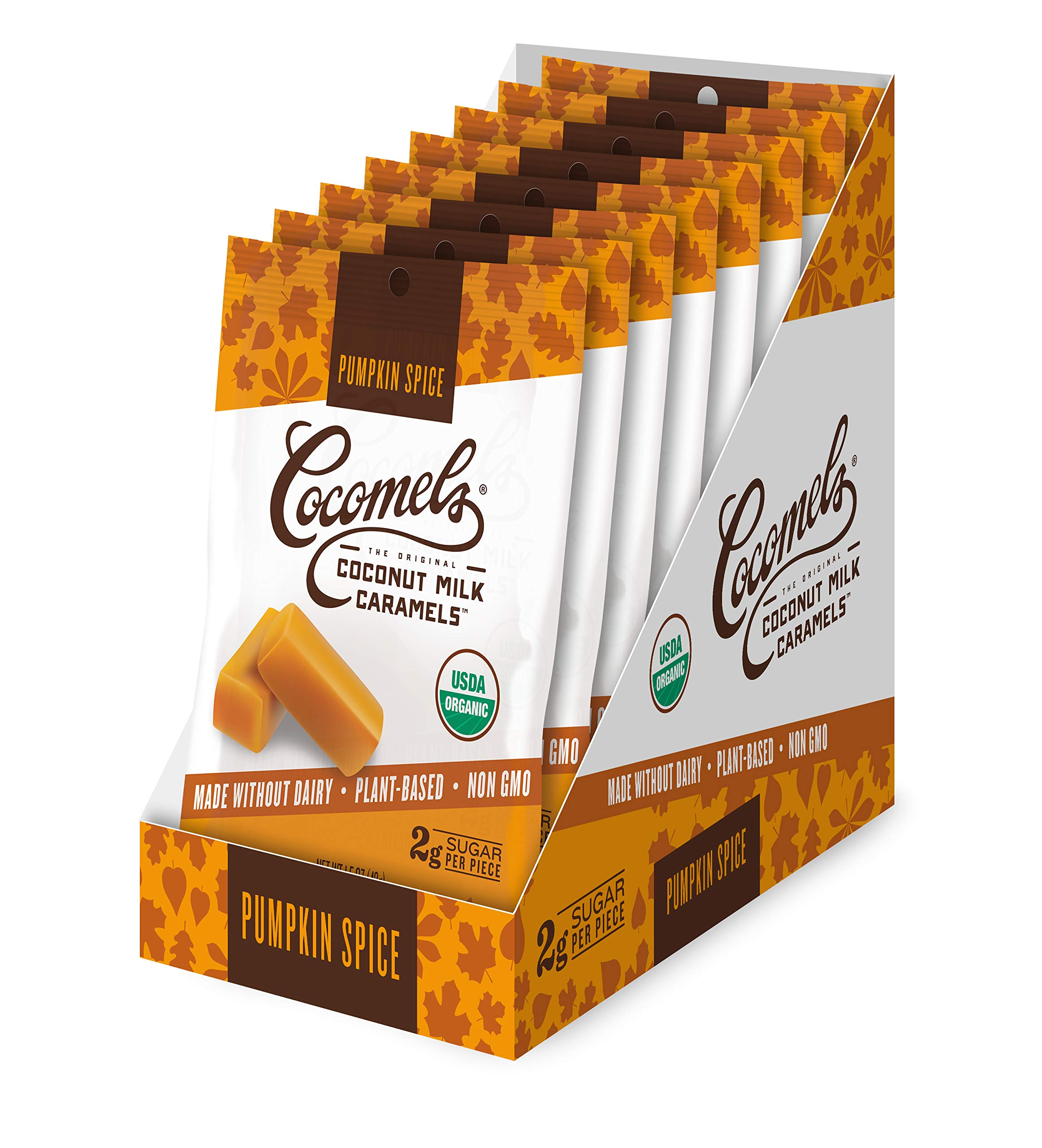 Cocomels Pumpkin Spice Coconut Milk Caramels, Snack Sized Pack, Organic, Dairy Free, Vegan, Gluten Free, Non-GMO, No High Fructose Corn Syrup, Kosher, Plant Based (8 x 1.5 oz Packs) by Cocomels