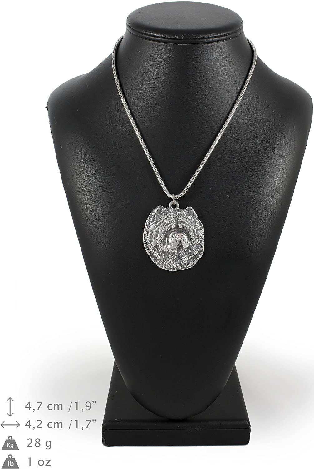 ArtDog Necklace Silver Plated Dog Pendant on a Snake Chain Chow Chow