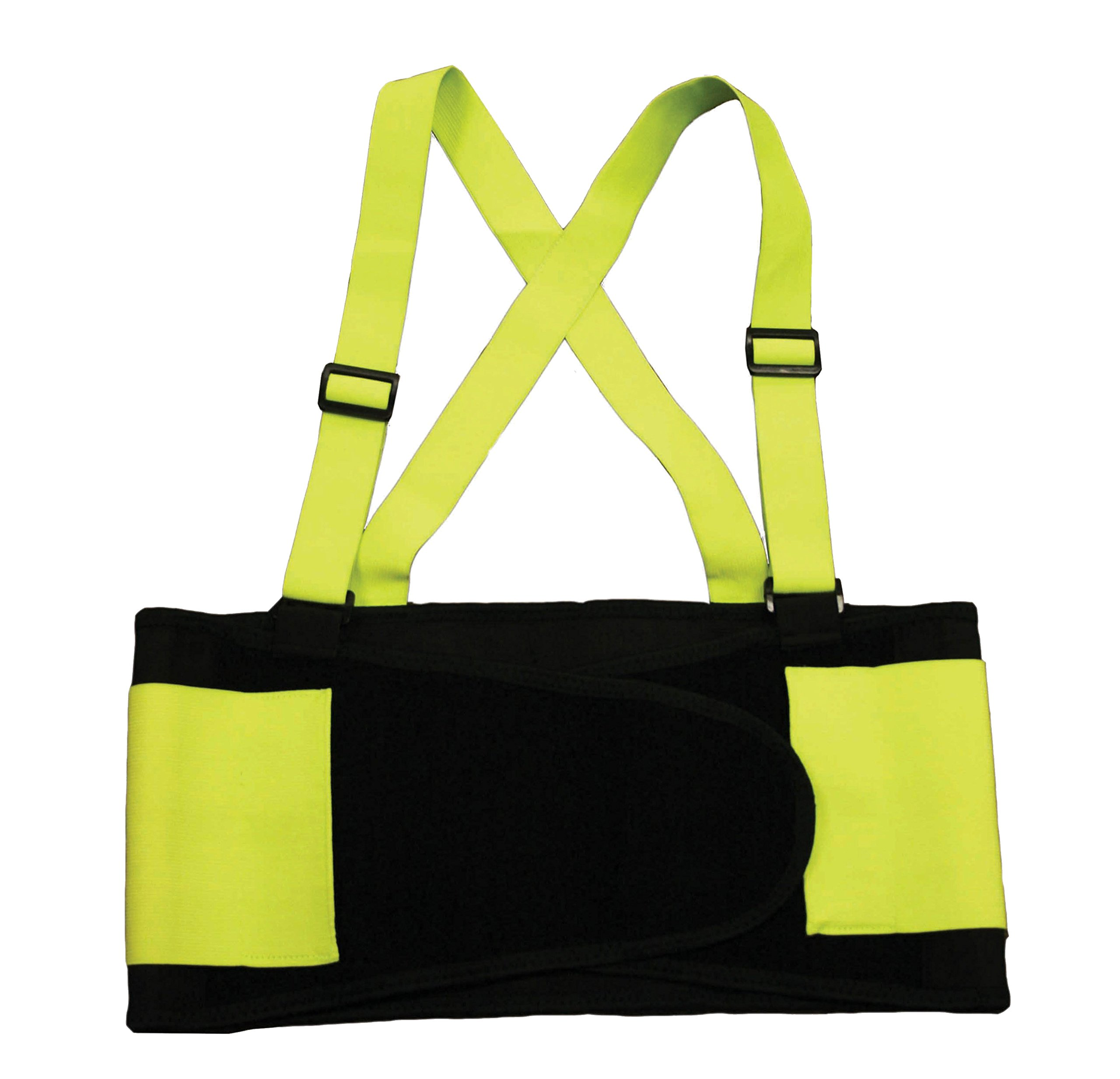 Cordova Safety Products SB1002XL High Visibility Lime Back Support Belt with Glide Adjustable Clips, XX-Large, Lime by Cordova Safety Products