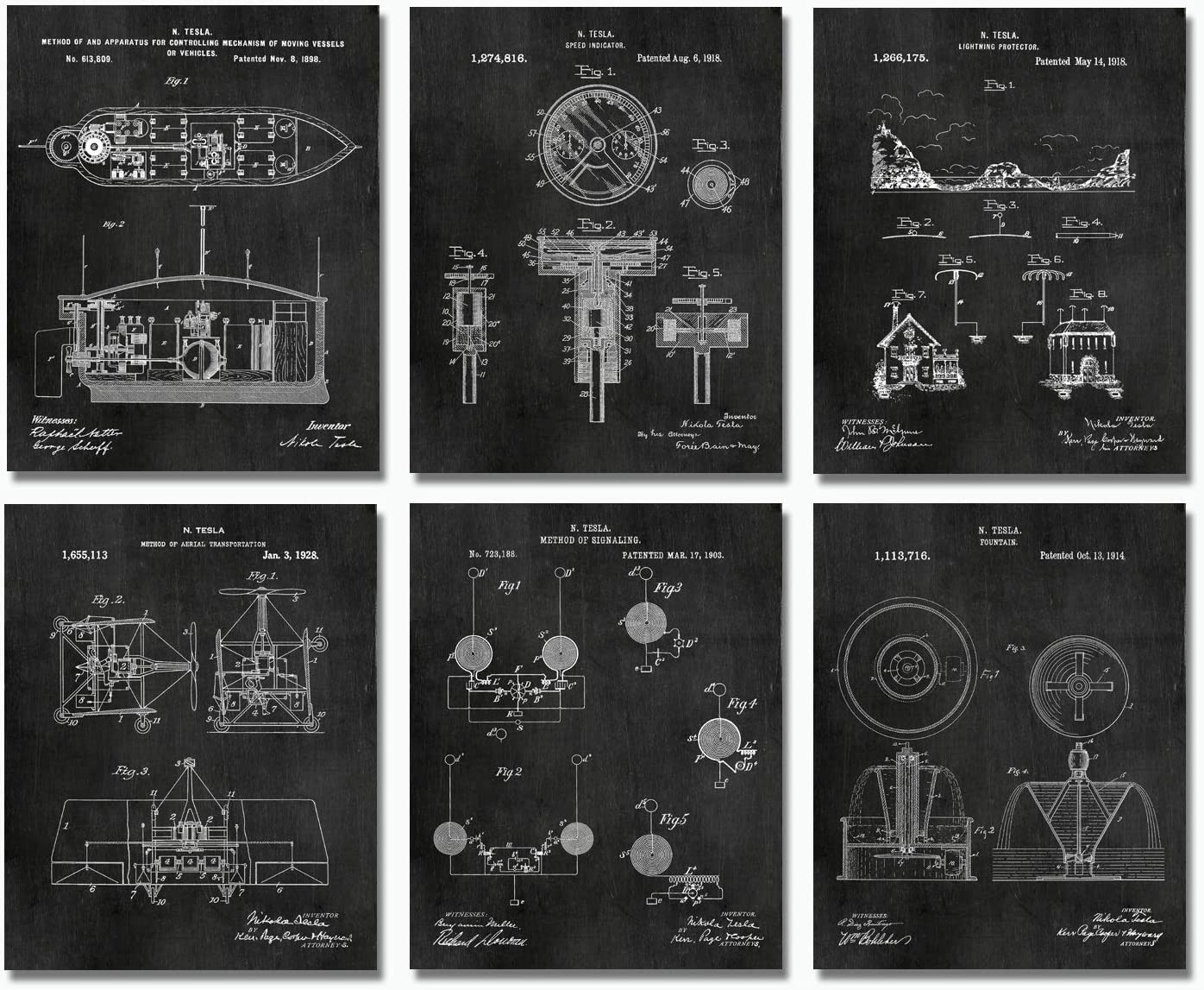 "Nikola Tesla Inventions - Set of Six 8""x10"" Wall Art Patent Prints - Engineering Gifts - Nerd Home Decor Chalkboard"