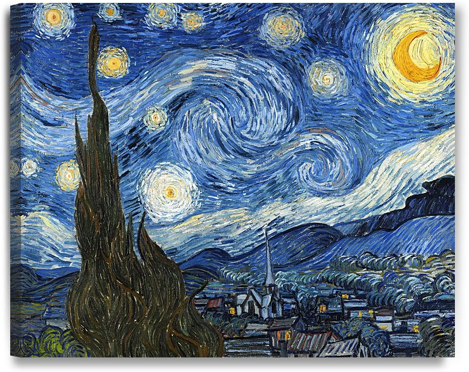 "DECORARTS Starry Night by Vincent Van Gogh The Classic Arts Reproduction, Art Giclee Print on Canvas, Stretched Gallery Wrapped, 30"" L X 24"" W"