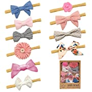 Baby Girl Headbands and Bows - Soft Elastic Hair Bands & Ties Girls Accessories