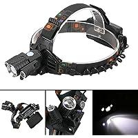 GuDoQi Recargable 1000 Lumens LED Lámpara de Cabeza 1Pcs CREE T6 + 2Pcs Xpe LED con 4 Modos de Luz Enfoque Ajustable Zoom para Camping, Senderismo, Ciclismo y Uso de Emergencia