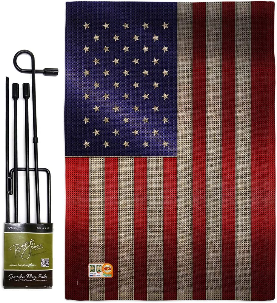 Amazon Com Nationality Steel Of Pride American Flag Garden Set With Stand Regional Nation International World Country Particular Area Small Decorative Gift Yard House Banner Double Sided Made In Usa 13 X 18 5