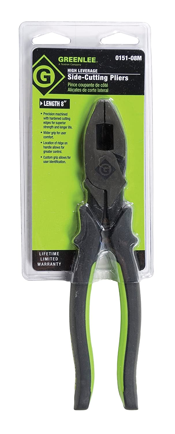 Greenlee 0151-09SD High Leverage Side-Cutting Pliers With Stripping Hole, Dipped Grip, 9