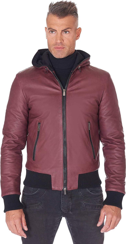 D'Arienzo Bordeaux Hooded Natural Lamb Leather Bomber Jacket