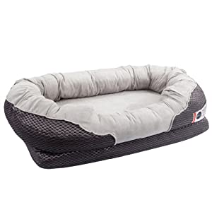 BarksBar Gray Orthopedic Bolster Bed - Snuggly Sleeper