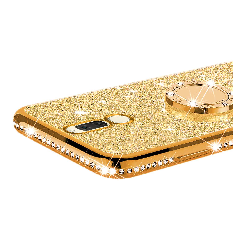 Coque compatible avec Huawei Mate 10 lite Huawei Maimang 6 avec Anneau Kickstand,MoreChioce Bling Glitter Diamant 360 Rotation B/équille Souple Strass Housse de Protection Silicone /Étui Bumper,Noir