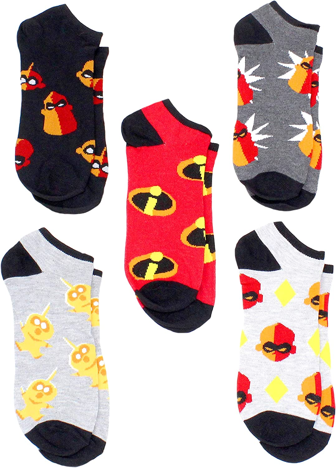 Disney Mens The Incredibles 2 Movie 5 Pack (5 Pair) No Show Socks, Black/Red, 10-13