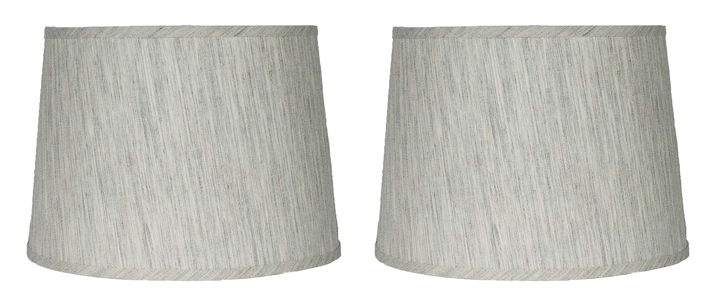 Urbanest French Drum Lampshade,Textured Flax Linen, 12-inch, Spider, Gray Tone, Set of 2
