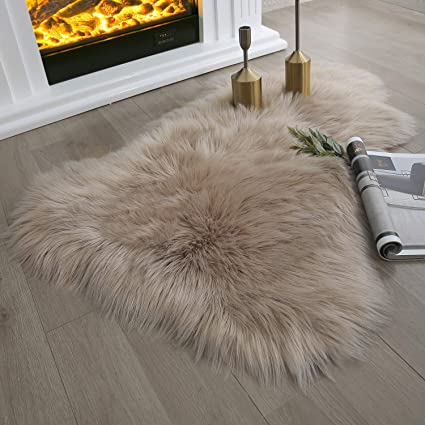 Enjoyable Ashler Soft Faux Sheepskin Fur Chair Couch Cover Beige Area Rug Bedroom Floor Sofa Living Room 2 X 3 Feet Caraccident5 Cool Chair Designs And Ideas Caraccident5Info