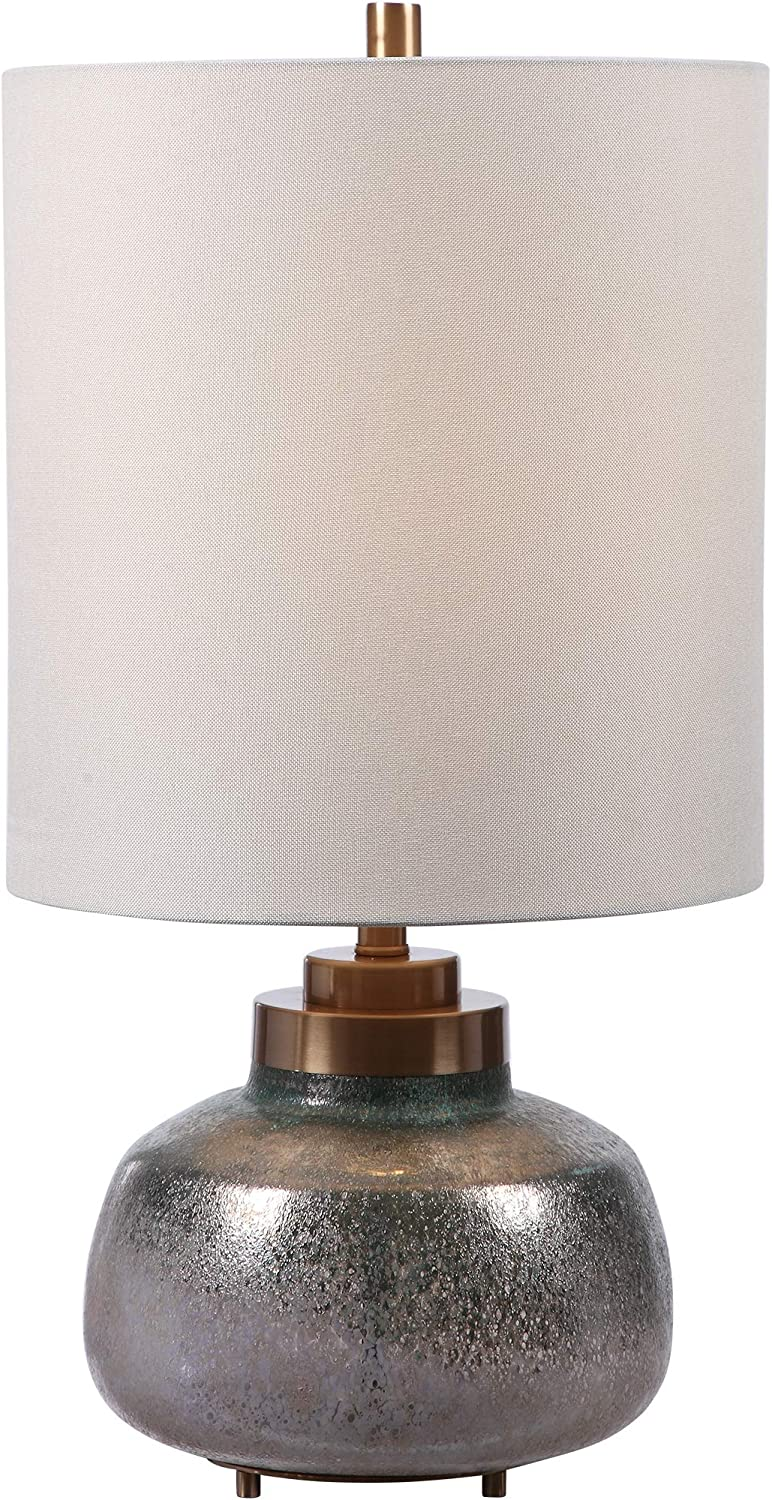 MY SWANKY HOME Contemporary Art Glass Green Gray Table Lamp Tall Shade Industrial Iridescent