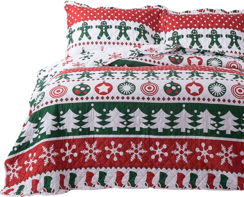 Bedsure Christmas Quilt Set Full/Queen Size (106x96 inches) - Gingerbread Man Pattern - Soft Microfiber Lightweight Coverlet Bedspread for All Season - 3-Piece Bedding (1 Quilt + 2 Pillow Shams)