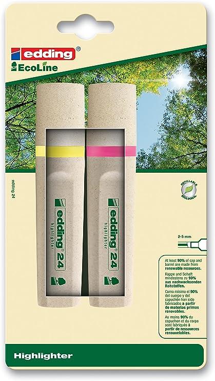edding 24 EcoLine Evidenziatore punta scalpello; Blister 2 pz.; Colore giallo; Tratto 2-5 mm