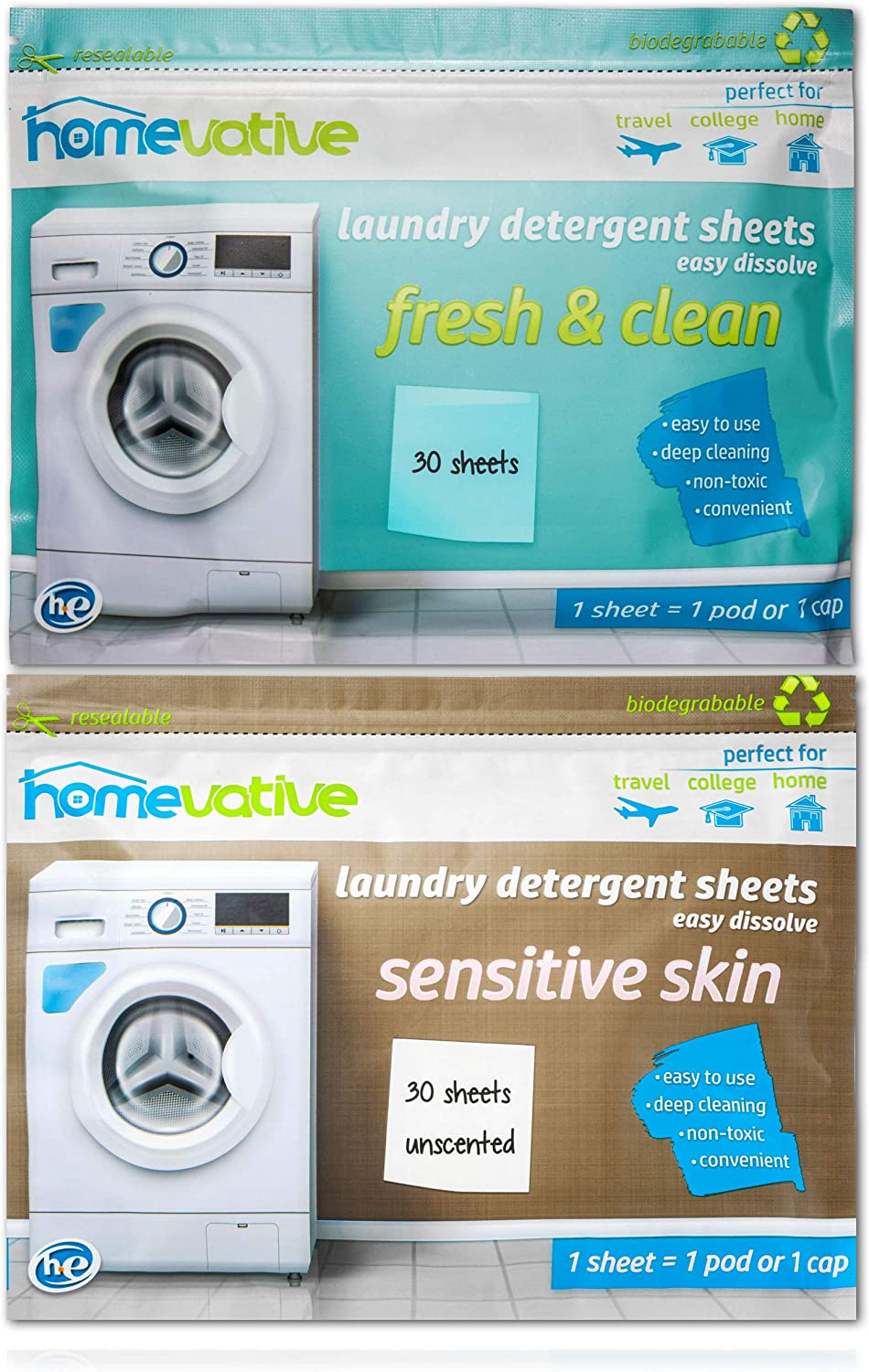 Homevative Laundry Detergent Sheet Bundle, Scented & Unscented, 60 Total Sheets