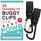 Buggy Clips - Universal Fit Pram Hooks for Stroller or Pushchair - 2 Clips per Pack by Baby POWR …