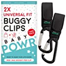 Buggy Clips - Universal Fit Pram Hooks for Stroller or Pushchair - 2 Clips per Pack by Baby POWR