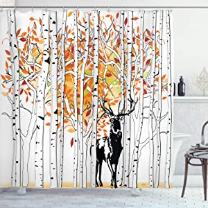 Ambesonne Deer Shower Curtain, Deer in Forest Autumn Colors Trees Foliage Wilderness Seasonal Artwork, Cloth Fabric Bathroom Decor Set with Hooks, 70