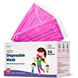WeCare Kids Face Mask Disposable - 50 Pack - Individually Wrapped - Pretty Pink for Girls and Boys - Soft on Skin, 3 Ply…