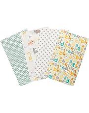 Trend Lab Mint Jungle Flannel Burp Cloth Set, 4 Piece