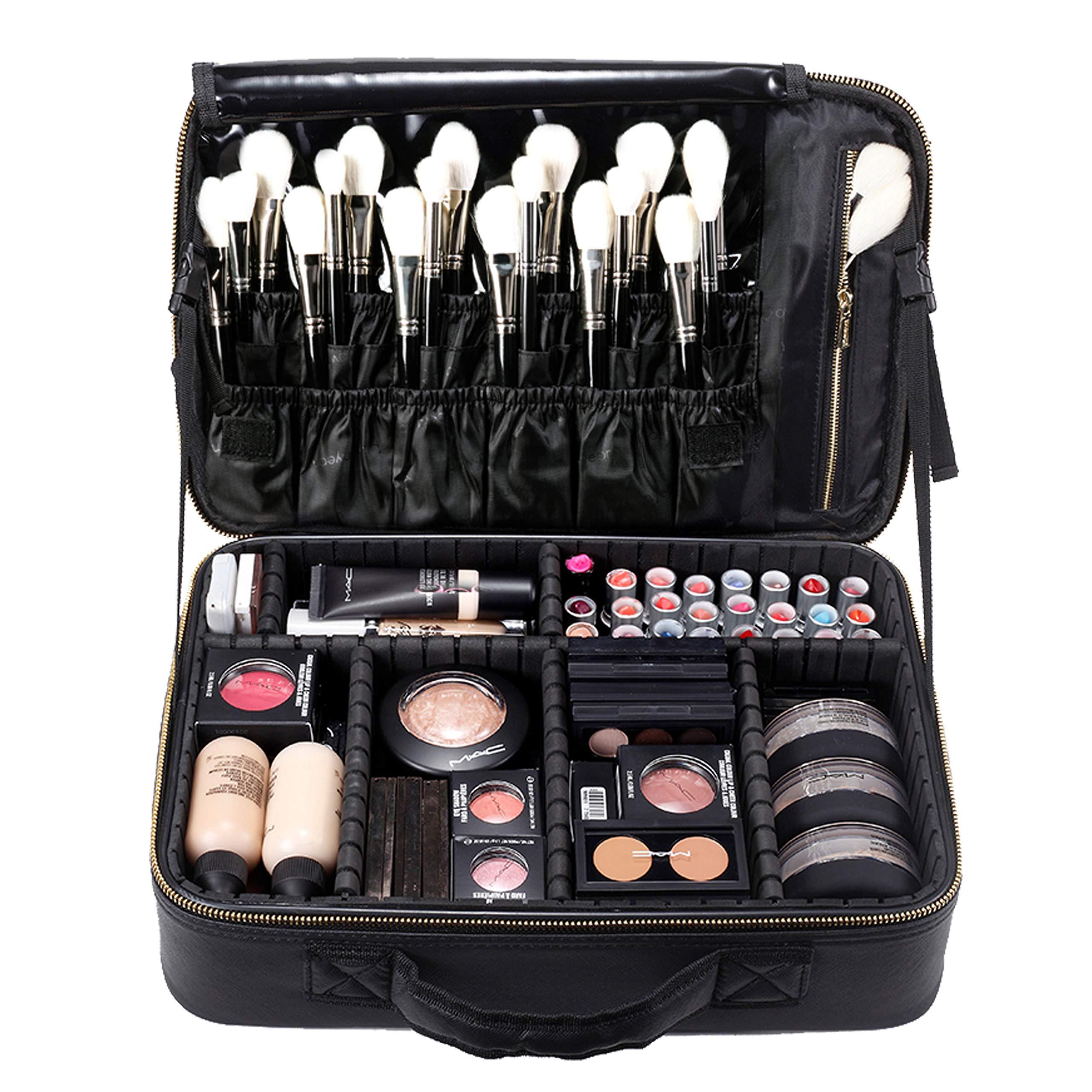 ROWNYEON Makeup Bag Makeup Case Cosmetic EVA Makeup Organizer Bag Portable Case Professional Makeup Artist Bag(Large Black) by ROWNYEON