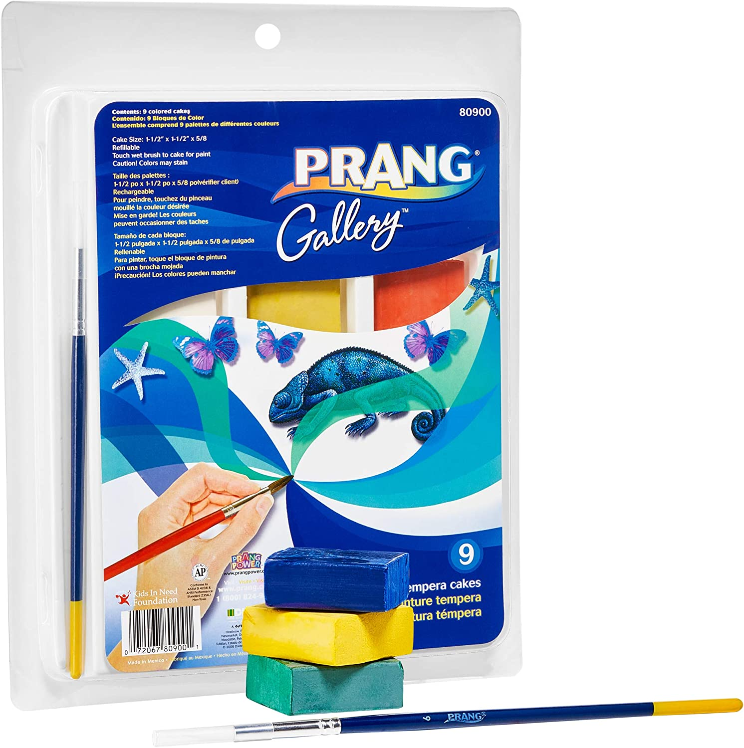 Prang Gallery Classic Tempera Paint Cakes, 9 Color Set with Divided Pan and Brush (80900), 1-1/2 x 1-1/2 x 5/8 in,Multi: Office Products