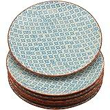Nicola Spring Patterned Dinner Plates - 255mm (10 Inches) - Blue/Orange Print Design - Box Of 6
