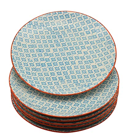 Nicola Spring Patterned Dinner Plates - 255mm (10 Inches) - Blue / Orange Print  sc 1 st  Amazon UK & Nicola Spring Patterned Dinner Plates - 255mm (10 Inches) - Blue ...