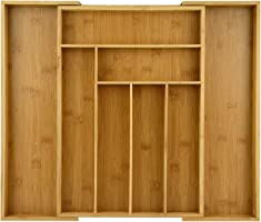 Organic Bamboo Extendable Drawer, Heim Concept Expandable and Extendable 6-8 Slots Organizer Cutlery Tray Layout for...