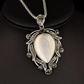 Amazon women vintage jewelry big opal pendant long necklace women vintage jewelry big opal pendant long necklace silver chain statement 2017by pimchanok shop aloadofball Images