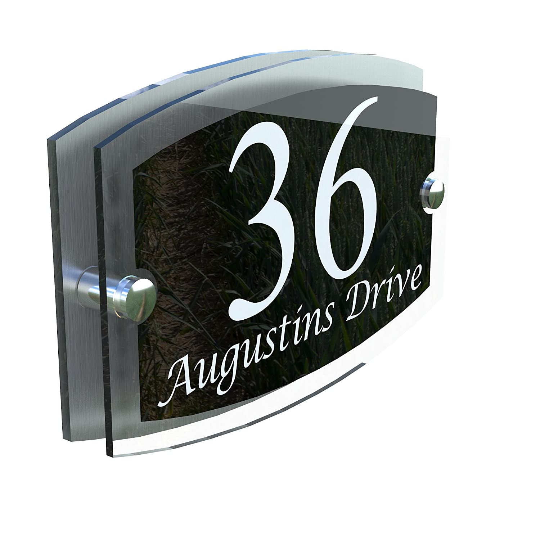 MODERN HOUSE SIGN PLAQUE DOOR NUMBER STREET GLASS EFFECT ACRYLIC ALUMINIUM NAME - ESTA5-13WB K Smart Sign Ltd