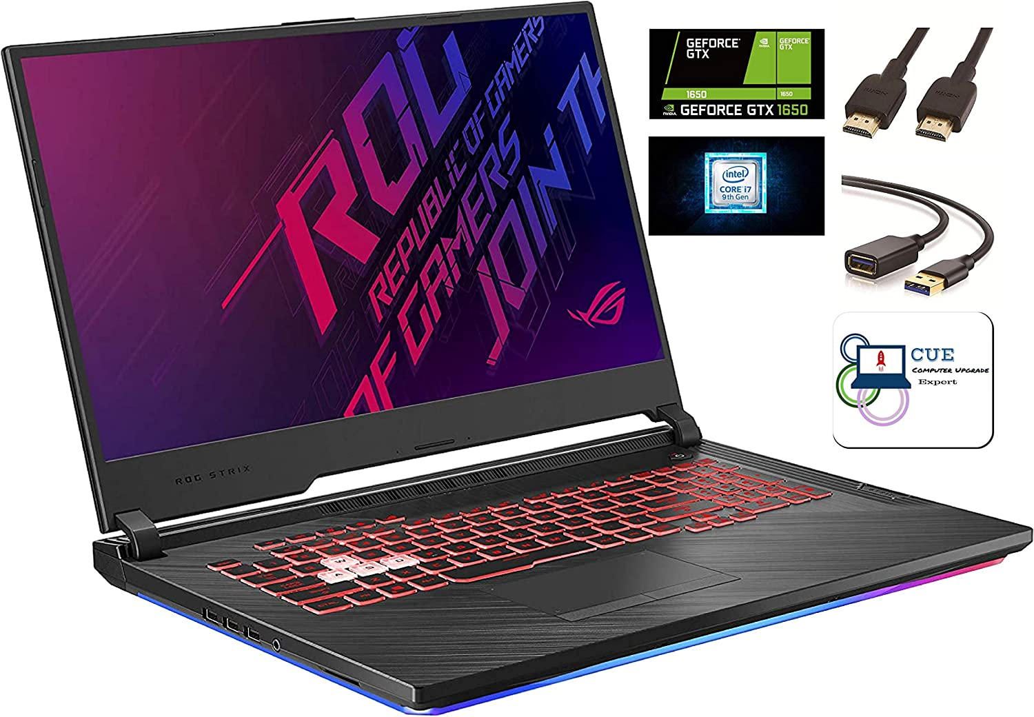 Amazon Com Asus Rog Strix G Gaming Laptop 17 3 120hz Ips Type Fhd Nvidia Geforce Gtx 1650 Intel 6 Core I7 9750h Backlit Rgb Kb 802 11 Ac Bluetooth Windows 10 Home Cue Accessories 32gb