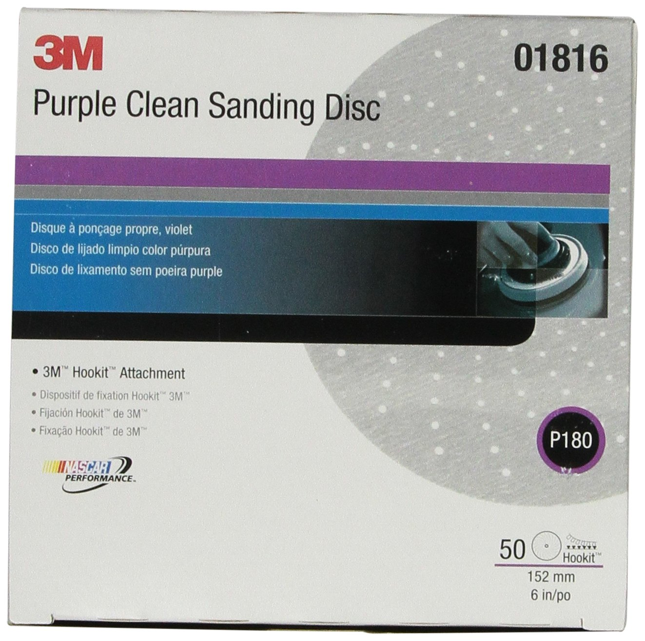 3M 01816 Hookit Purple 6' P180C Grit 734U Clean Sanding Disc