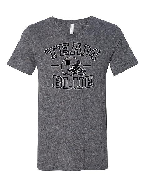 Team Blue Football Gender Reveal 3005 Premium V Neck T Shirt Slogan