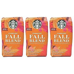 Starbucks 2020 Fall Blend Ground Coffee - Pack of 3 Bags - 10 oz Per Bag - 100% Arabica Starbuck's Medium Roast