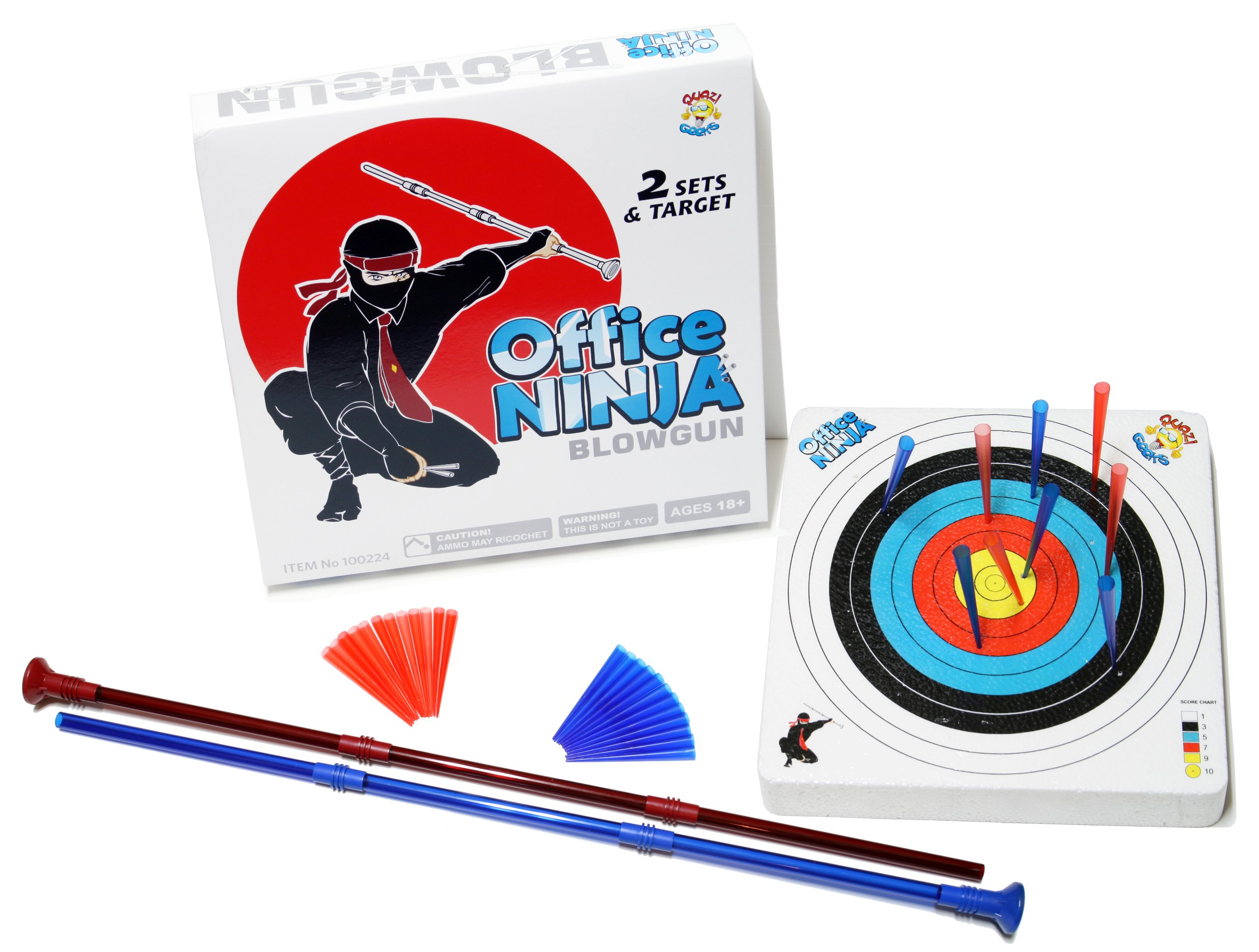 Office Ninja Desk Toy - Indoor Blowgun Kit with Soft Ammo and Target by Unitech Toys