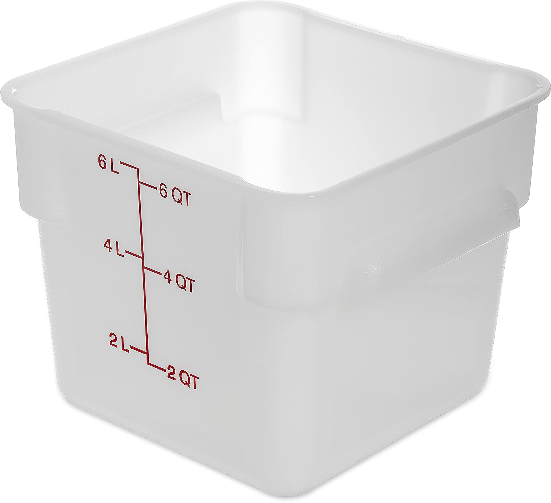 Carlisle 1073202 StorPlus Square Food Storage Box, Container Only, 6 Quart, White