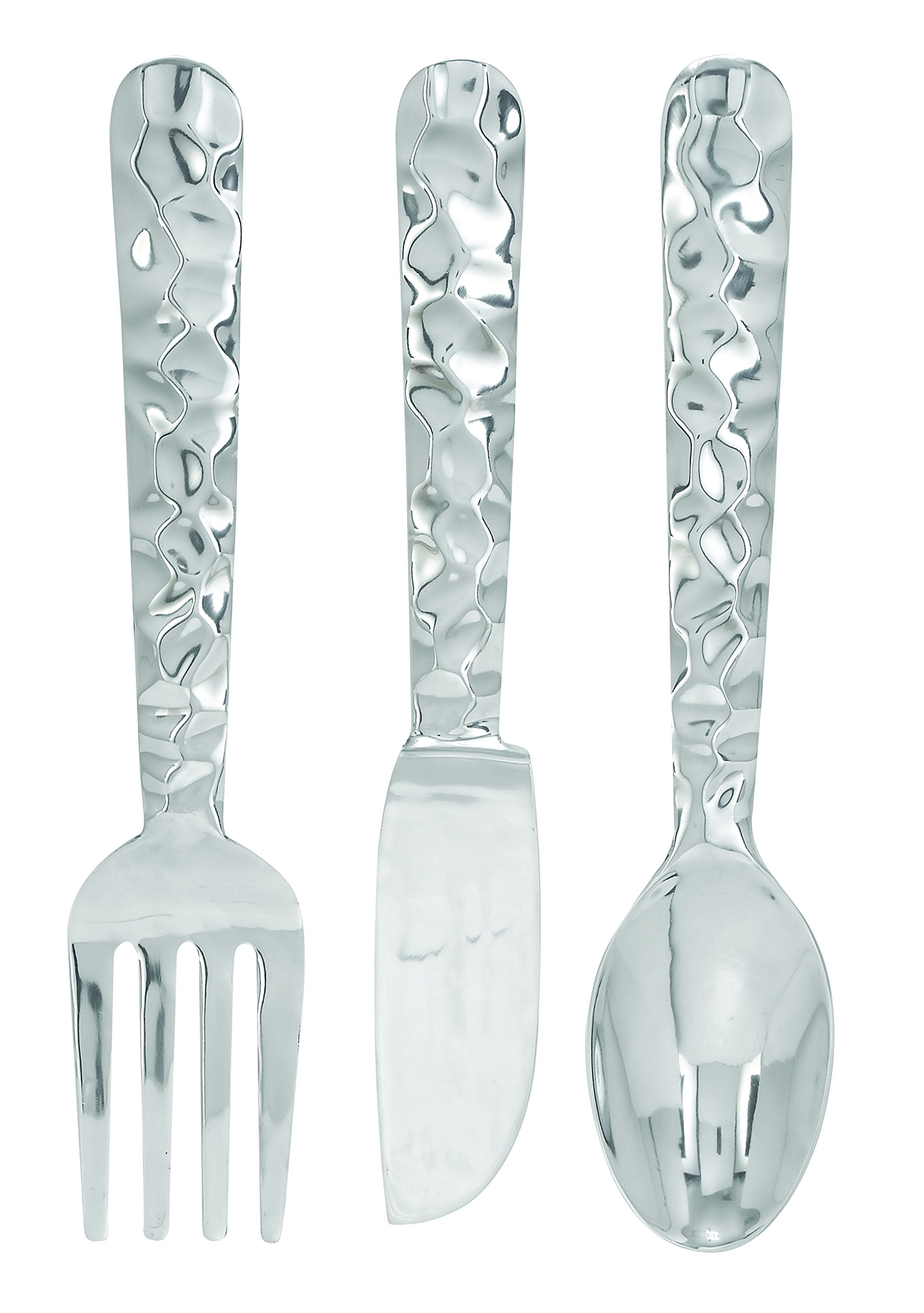 Deco 79 Cutlery Wall Decor Aluminum Utensil, 36/8-Inch, Set of 3