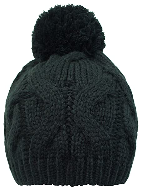 Luxury Divas Black Cable Knit Beanie Cap With Pom Pom at Amazon Women s  Clothing store  Skull Caps a1d6ece7bd0