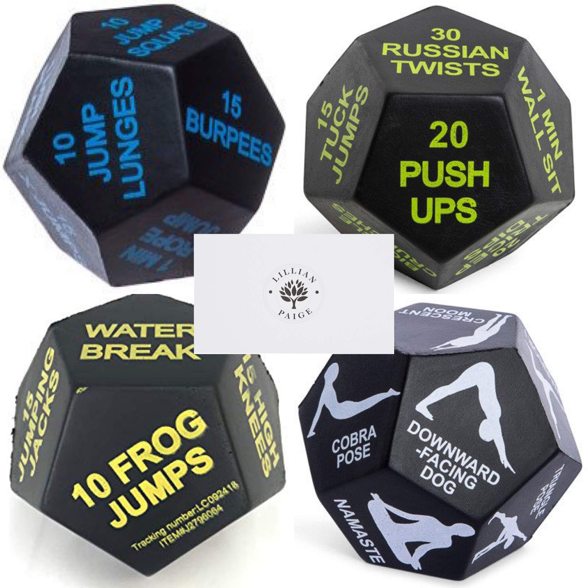 Juliet Paige Sports Dice for Exercise, Yoga, and Fitness (4 Dice, Multi Bundle) by Juliet Paige