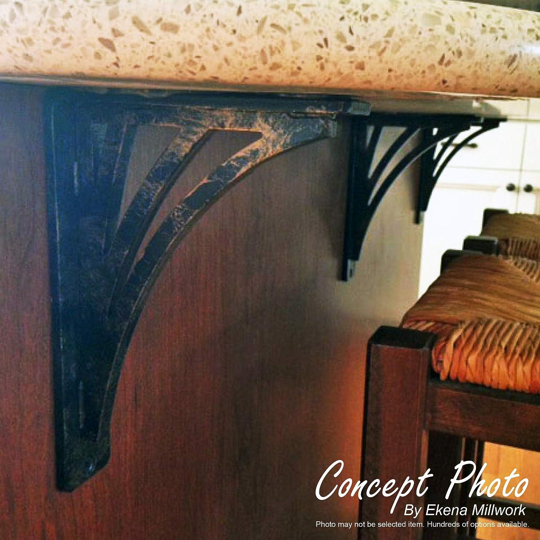 Single Center Brace 4 Piece Powder Coated Black Ekena Millwork BKTM01X07X10STN-CASE-4 1 W x 7 1//2 D x 10 H Tristan Wrought Iron Bracket, 4-Pack