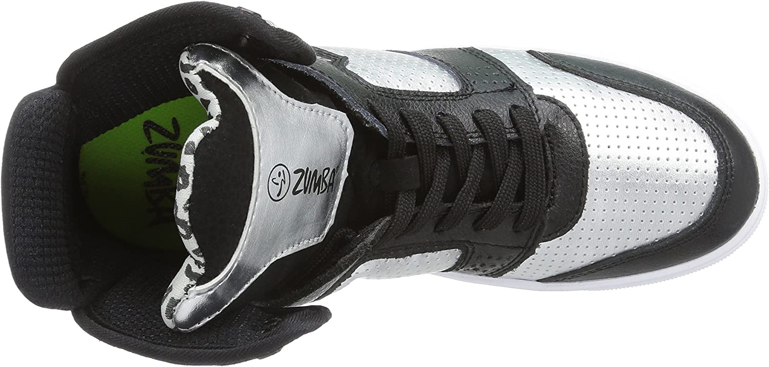 Zumba Energy Boom High Top Athletic Shoes Dance Training Workout Women Shoes Silver Black 8OE8aF