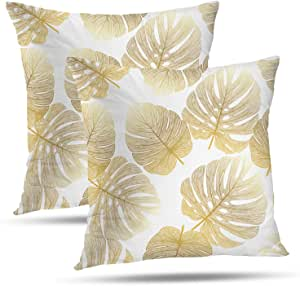 Batmerry Spring Pillows Decorative Throw Pillow Covers 18x18 Inch Set of 2 Tropical Monstera Palm Leaf Floral Print Fabric Double Sided Square Pillow Cases Pillowcase Sofa Cushion