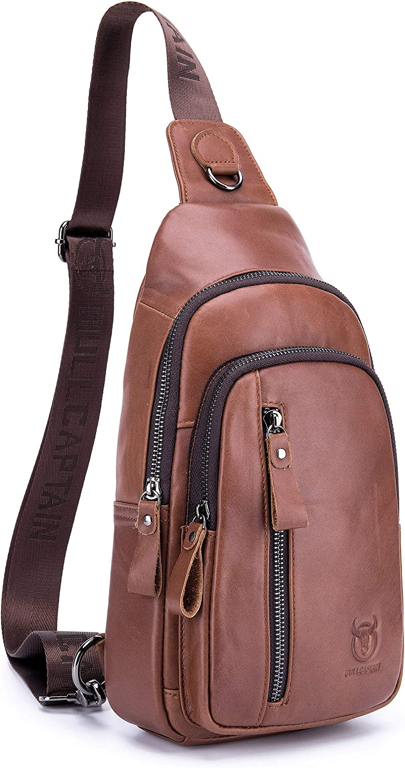Genuine Leather Sling Bag,Full Grain Leather Casual Crossbody Shoulder Backpack Travel Hiking Vintage Chest Bag Daypacks for Men Brown